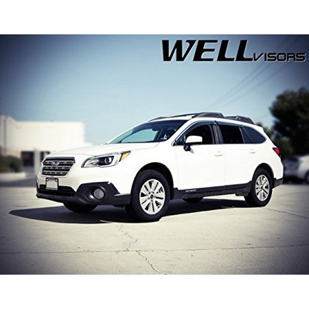 WellVisors Extreme Online Store Replacement for 2015-Present Subaru Outback Side Rain Guard Window Visors Deflectors Chrome Trim - Subaru Outback Diamond