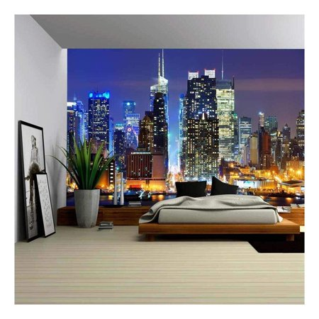 wall26 Lower Manhattan from Across the Hudson River in New York City. - Removable Wall Mural | Self-adhesive Large Wallpaper - 100x144 - Windy City Wallpaper