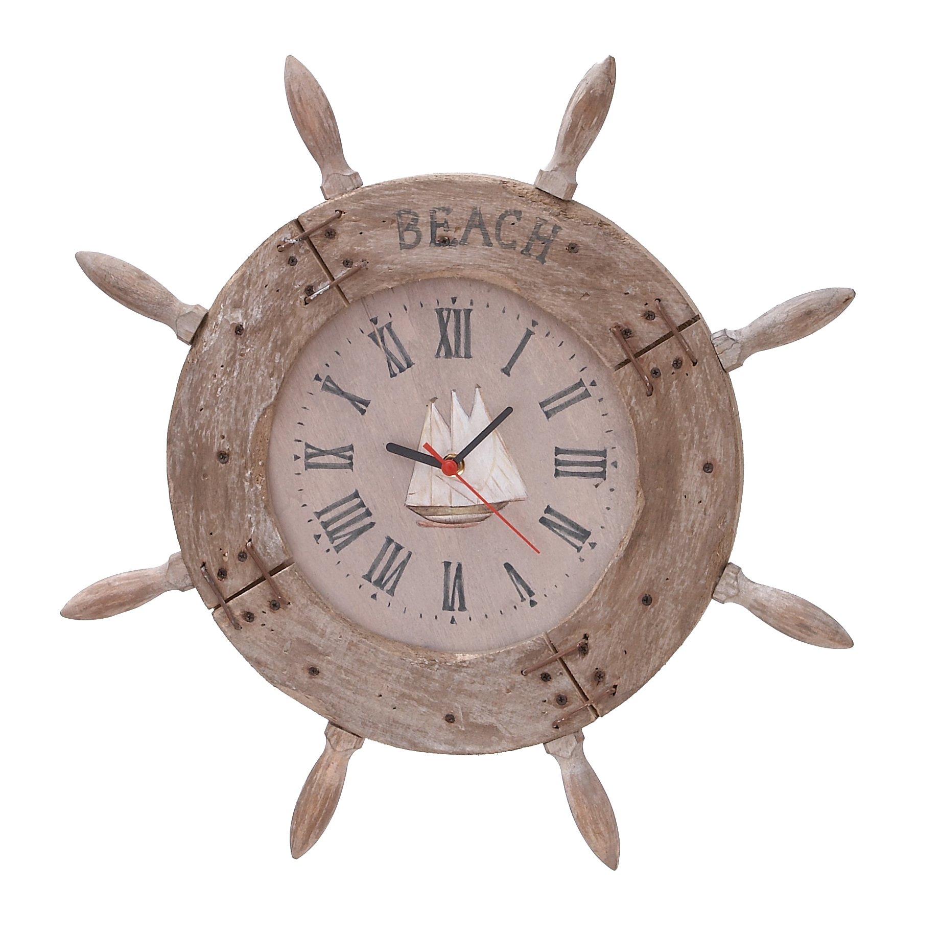 Wood Ship Wheel Clock Nautical Maritime Decor