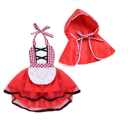 Infant Baby Toddler Girls Christmas Red Plaid Tulle Fancy Dress Hood Cloak Halloween Costumes - Infant Fancy Dress Costumes Uk