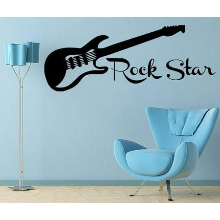 Guitar Rock Star Decal Wall Vinyl Decor Sticker Bedroom Music Kids Children Art JR11 ()