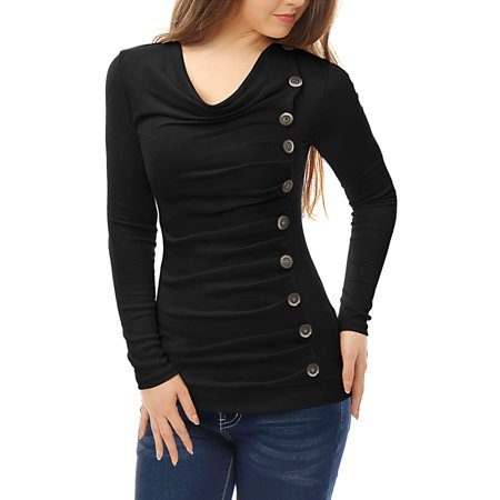 - Women's Casual Pullover Cowl Neck Long Sleeve Side Ruched Tunic Tops Blouse Shirt Black M (US 10)