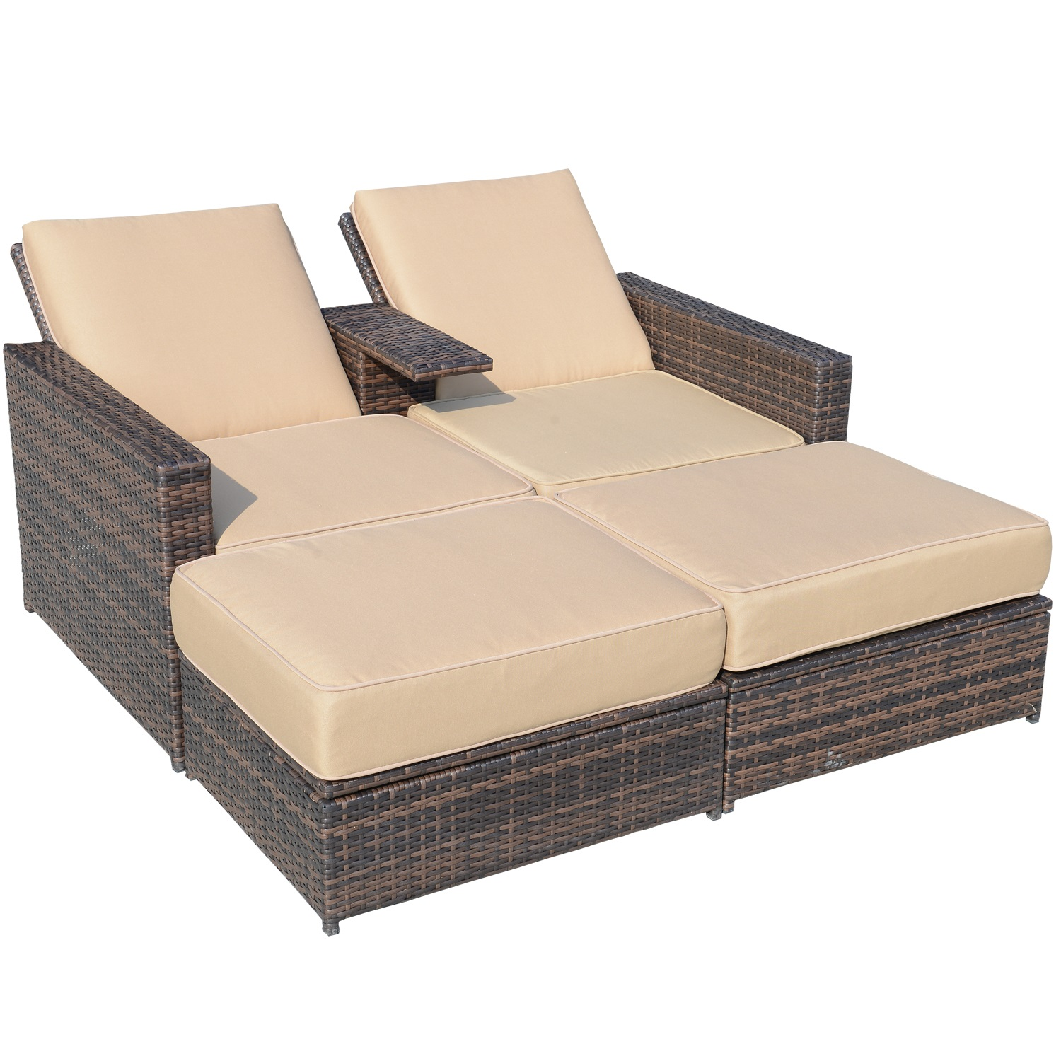 Aosom LLC Outsunny 3 Piece Outdoor PE Rattan Wicker Patio Love Seat Lounge Chair Set with Cushions