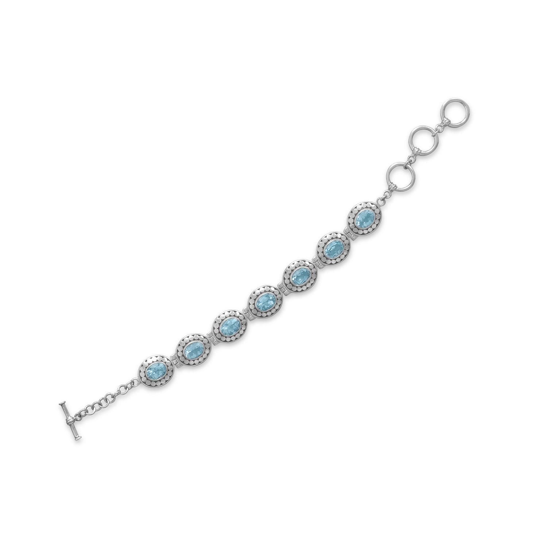 Blue Topaz Bracelet 7-Stone Smaller Size Adjustable Length Toggle Sterling Silver by unknown