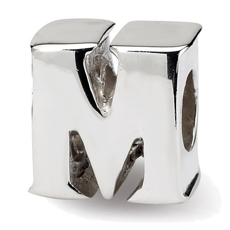 Lex & Lu Sterling Silver Reflections Letter M (Sterling Silver Letter Bead)