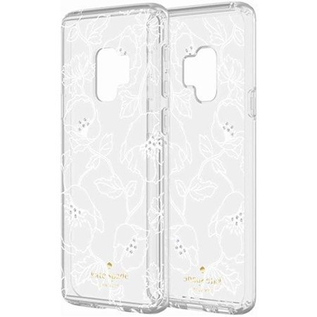 new styles b9c34 2b117 Kate Spade Protective Hardshell Case for Galaxy S9 - Clear/ White Floral w/  Gems (Refurbished)