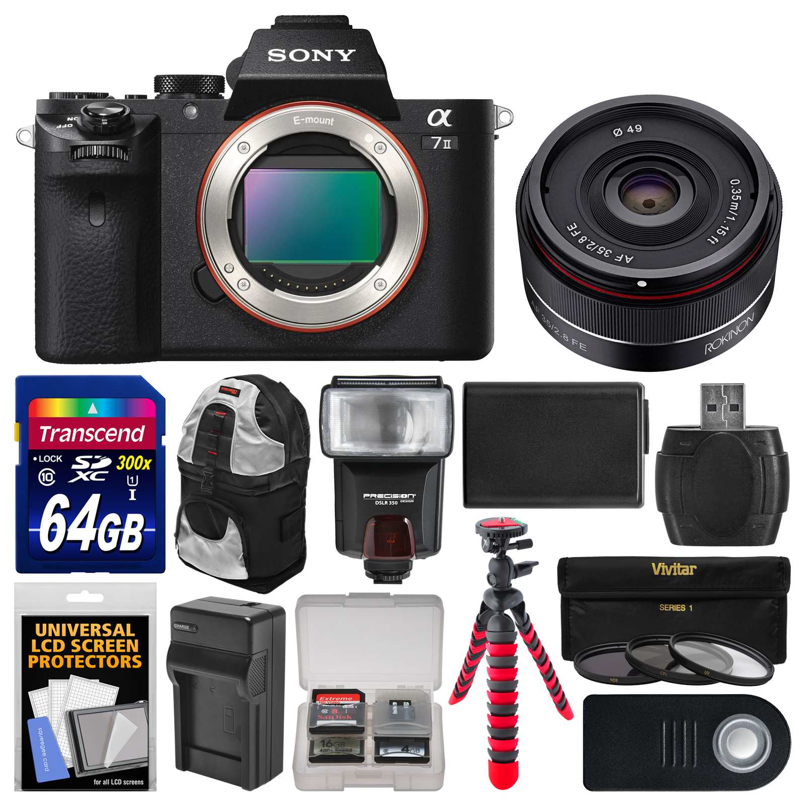 Sony Alpha A7 II Digital Camera & 28-70mm FE OSS Lens with 64GB Card + Backpack + Battery + Tripod + Tele Wide... by Sony