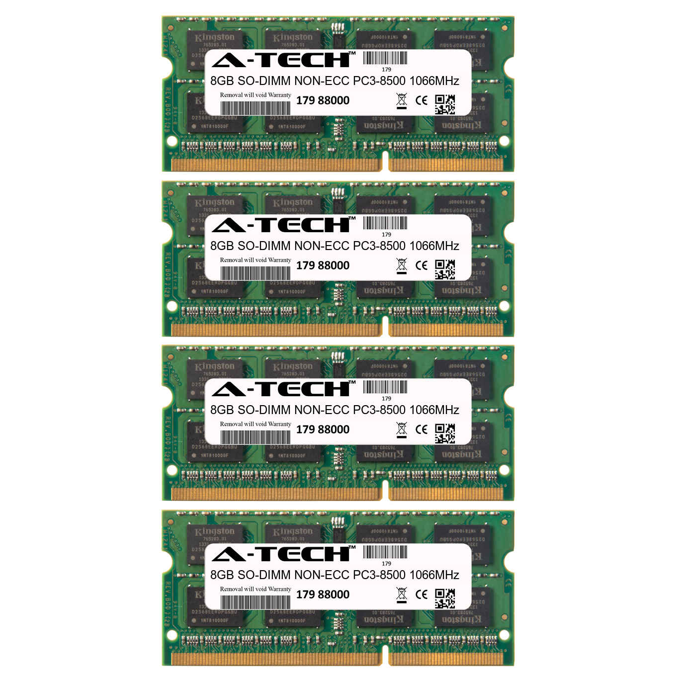 32GB Kit 4x 8GB Modules PC3-8500 1066MHz NON-ECC DDR3 SO-DIMM Laptop 204-pin Memory Ram
