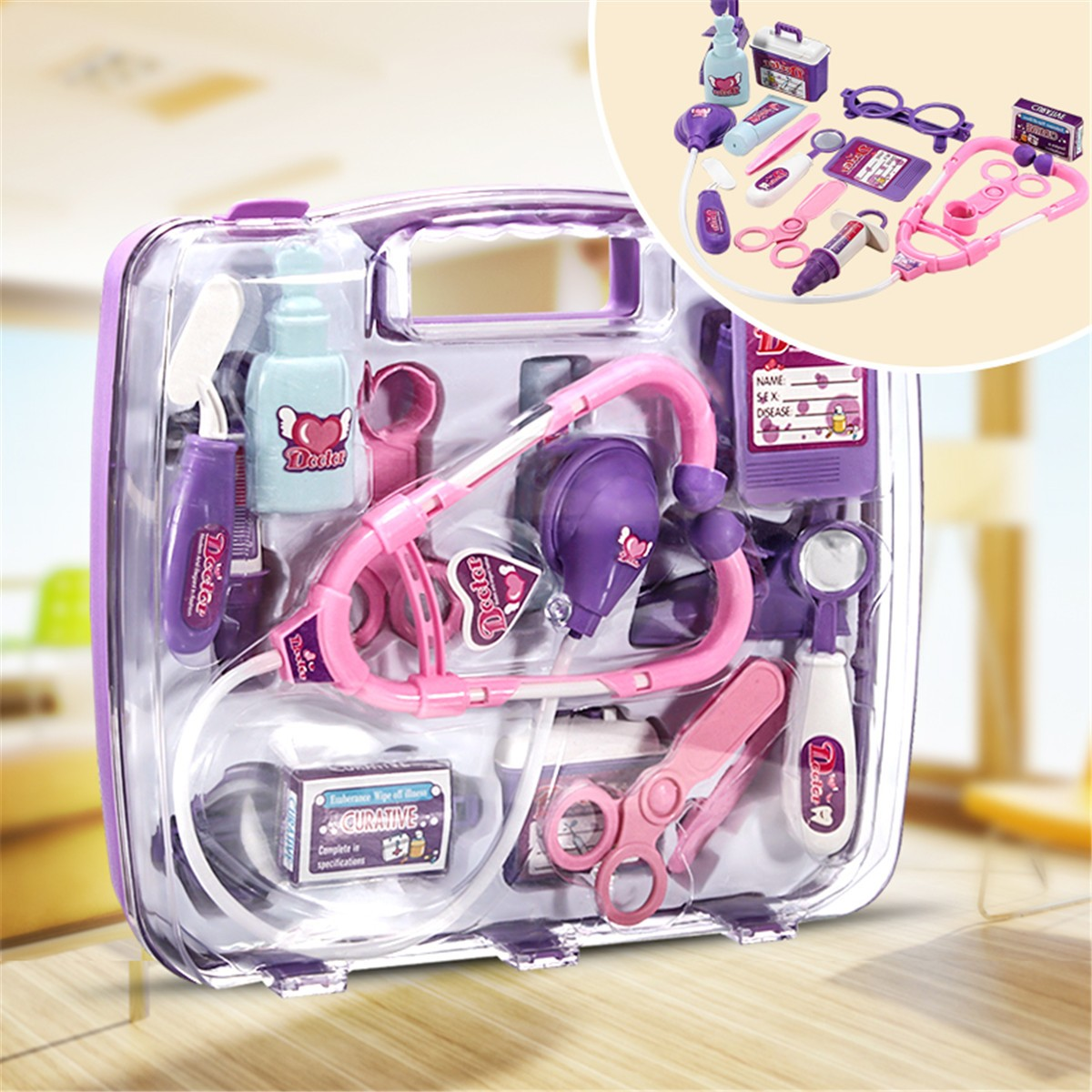 Kids Pretending Doctor's Medical Playing Set Case Education Kit Boys Girls Toy Image 1 of 12