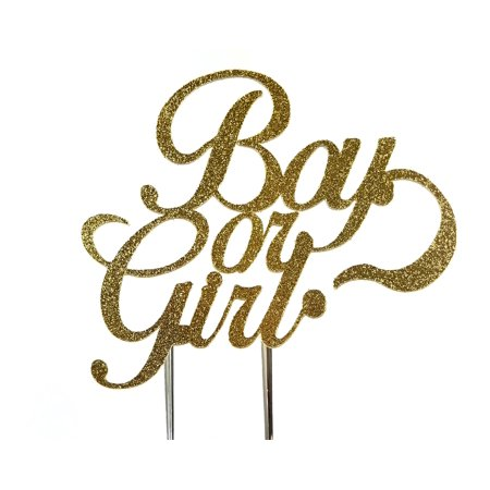 Handmade Gender Reveal Cake Topper Decoration - Boy or Girl - Made in USA with Double Sided Gold Glitter - Usc Decorations