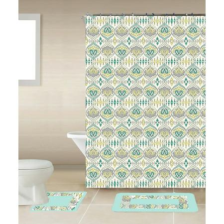 Sareen Jade Green Classic 15-Piece Bathroom Accessory Set: 2 Bath Mats, Shower Curtain & 12 Fabric Covered