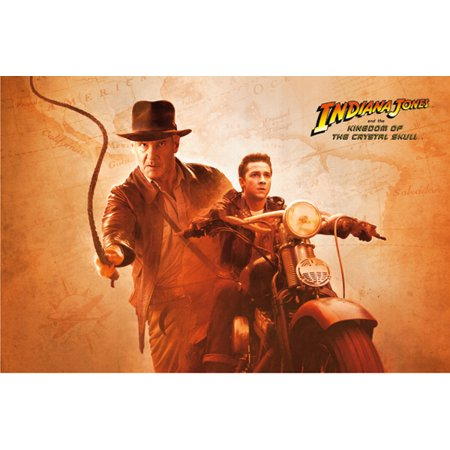 Indiana Jones And The Kingdom Of The Crystal Skull   Movie Poster   Print  Harrison Ford   Shia Labeouf   Whip   Bike   Size  40  X 27