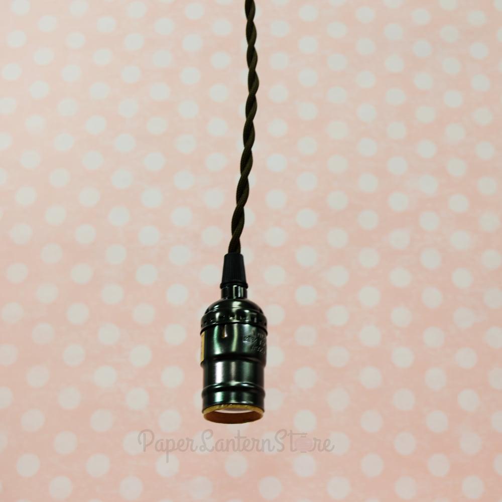 Fantado Bulk Case Single Pearl Black Socket Pendant Light Lamp Cord Wiring Kits W Dimmer 11ft Brown Cloth 10 Pack By Paperlanternstore