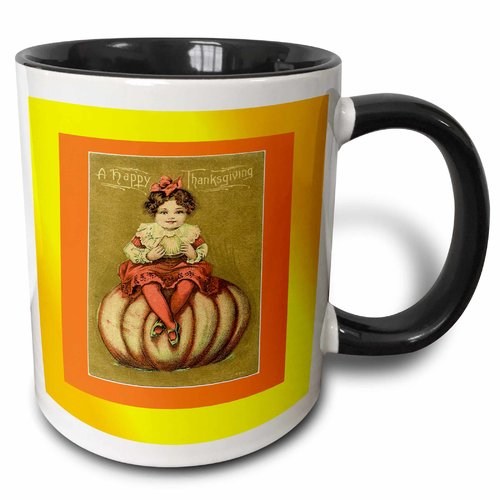 3dRose Print of Little Girl On Pumpkin With Happy Thanksgiving, Two Tone Black Mug, 11oz