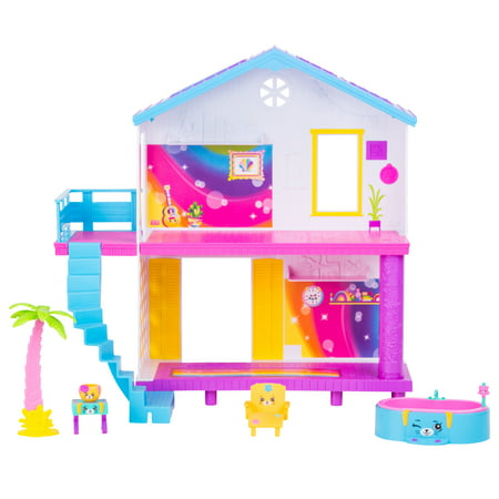 Shopkins Happy Places Rainbow Beach House Playset, With 6 Furniture and Accessory Pieces