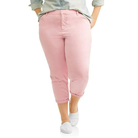 7807f60bcf0a3 Terra   Sky - Women s Plus Brushed Satin Cropped Chino Pants - Walmart.com