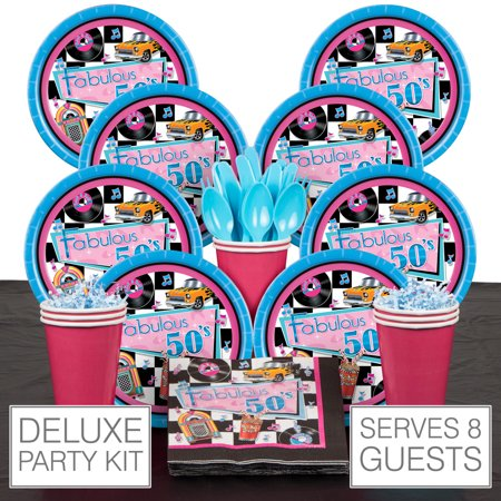 Fabulous 50s Retro Party Supplies Pack - 8 Guests