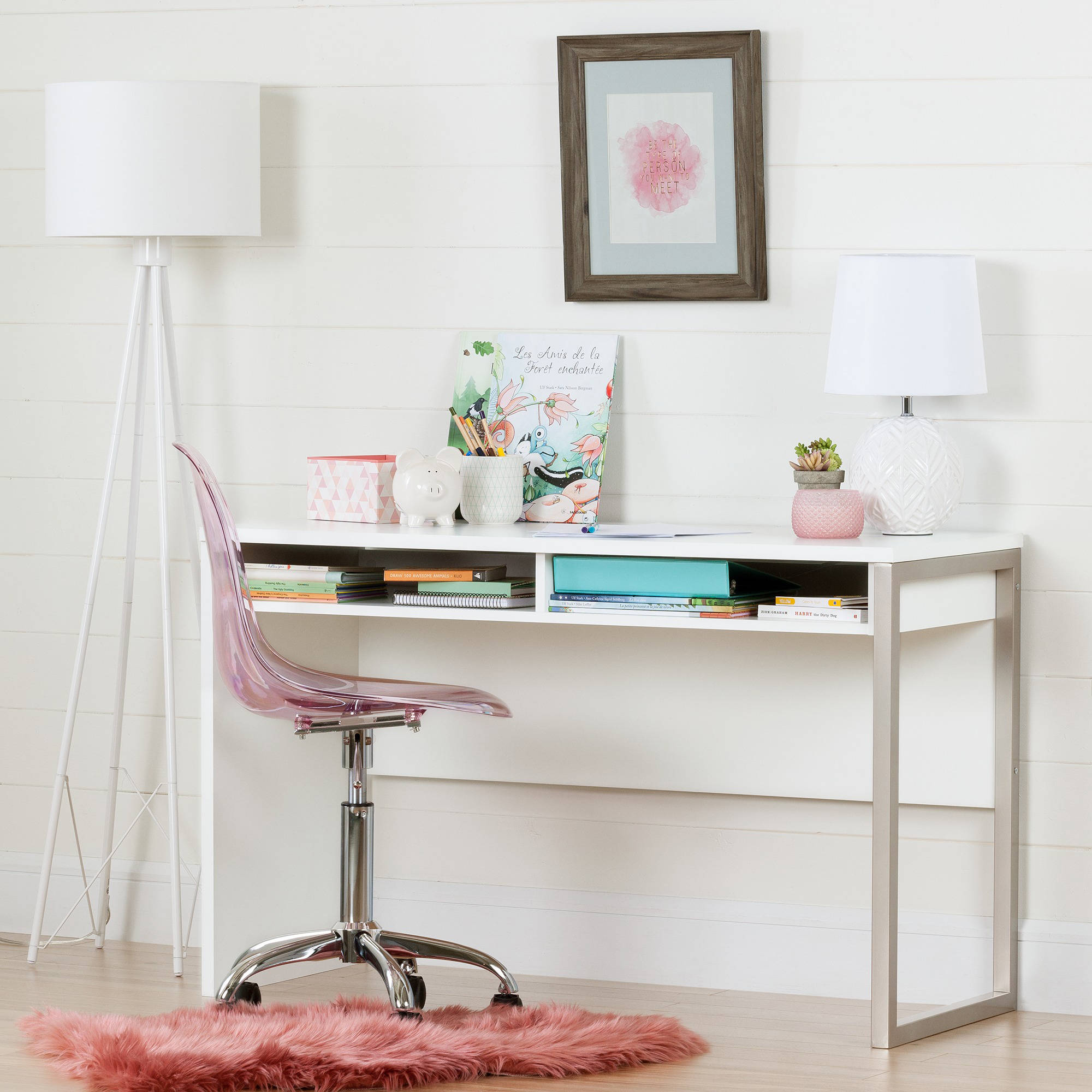 South Shore Interface White Desk with Clear Pink Blush Office Chair with Wheels