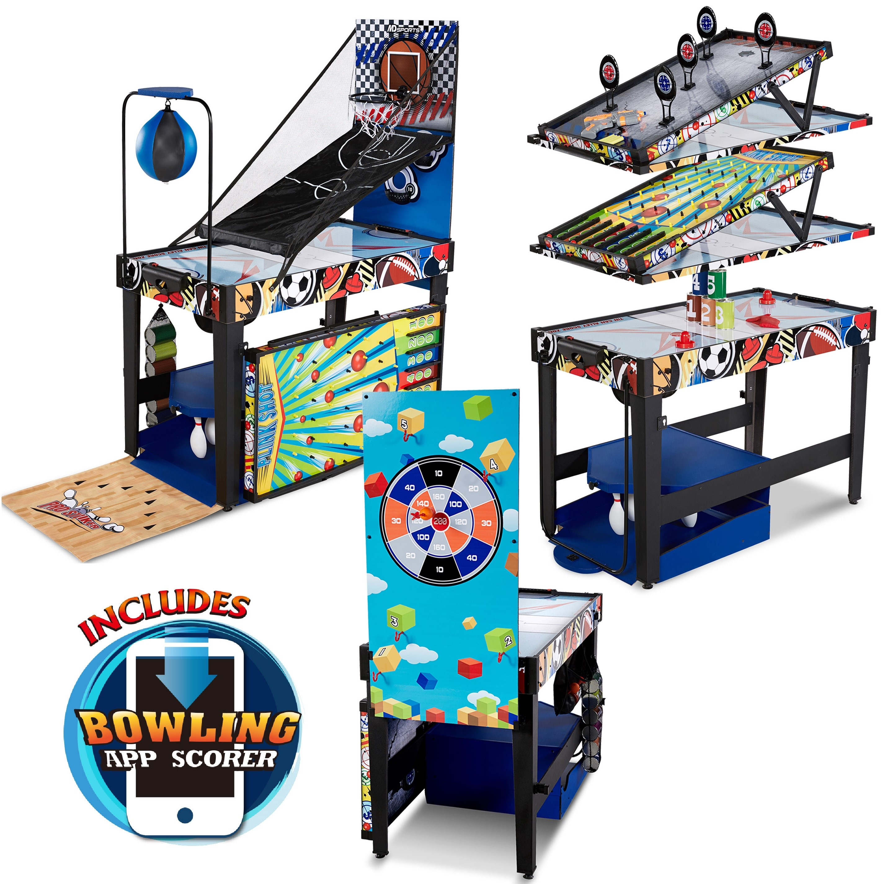 MD Sports 48 inch 12-in-1 Combo Multi-Game Table, Games with Air Powered Hockey, Basketball, Boxing, Target Shooting, Bean Bag Toss, Bowling with APP Scorer