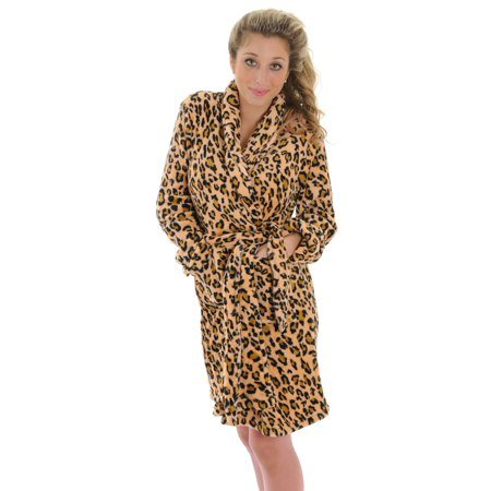 Totaly Pink - Super Soft Leopard Robe Short Wrap Animal Print Fleece ... 23a09278a