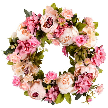 Coolmade Artificial Peony Flower Wreath - 15