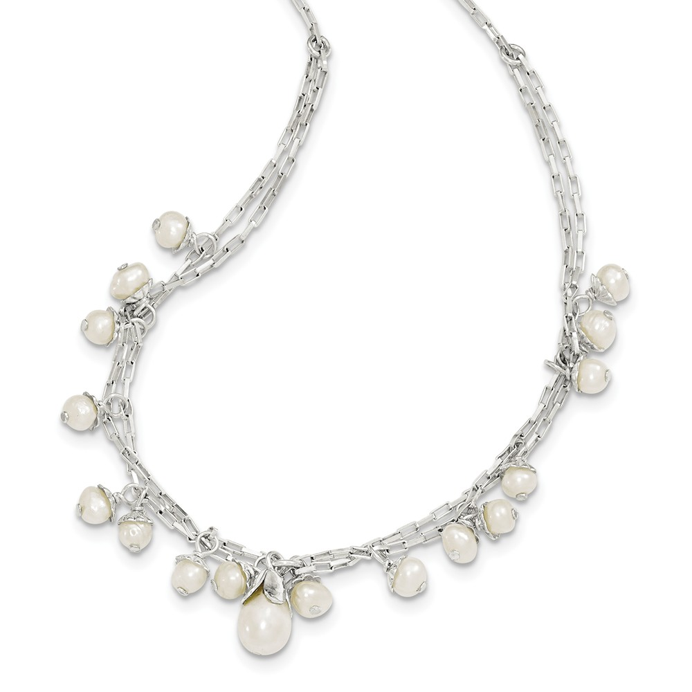 Sterling Silver Freshwater Cultured Pearl 16in Necklace