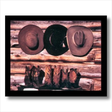Old Cowboy Boots And Hats Western Rodeo Wall Picture Art Print - Old Western Decor