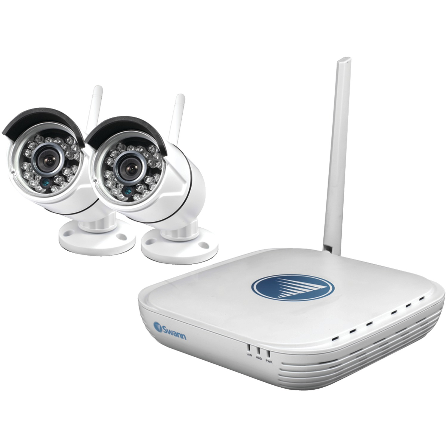 Swann SWNVK-460KH2-US 4-Channel Wi-Fi Security System With 2 Wireless IP Cameras
