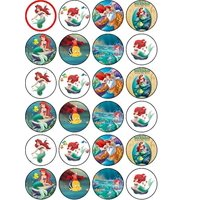 Disney's Little Mermaid Ariel Edible Frosting Image Cupcake Toppers 24ct* ABPID06610
