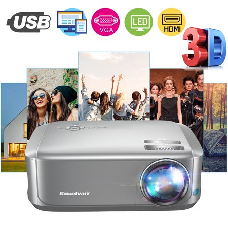Movie projector Office Outdoor projector, Excelvan BL68 Home Theater Projector Supports Red-blue 3D 1080P Videos HDMI VGA USB Interfaces Dust-proof Net Available 4k