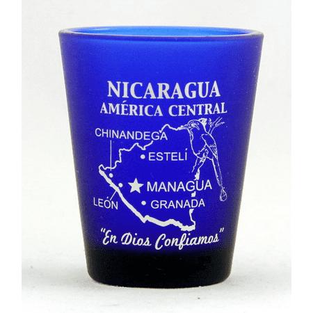 Nicaragua Central America Cobalt Blue Frosted Shot Glass