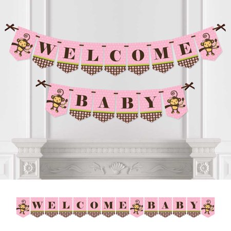 Monkey Girl - Baby Shower Bunting Banner - Pink Party Decorations - Welcome Baby