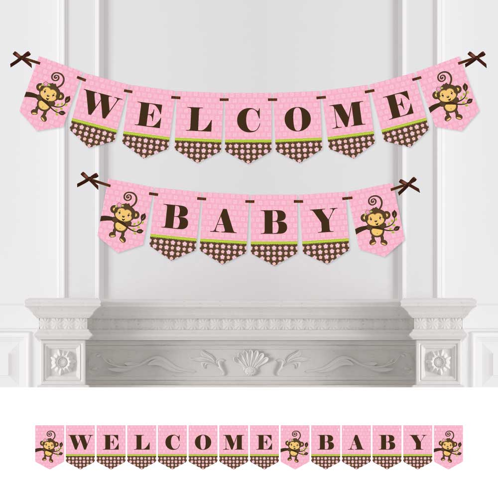 Monkey Girl   Baby Shower Bunting Banner   Pink Party Decorations   Welcome  Baby
