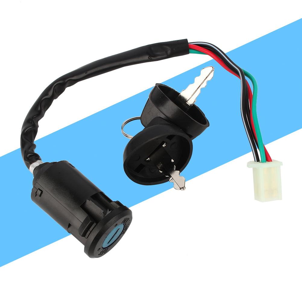 Black Ignition Key Switch for 50 90 110 125cc ATV TAOTAO Bike 4 Wire Ignition 1 Key Switch Waterproof CO