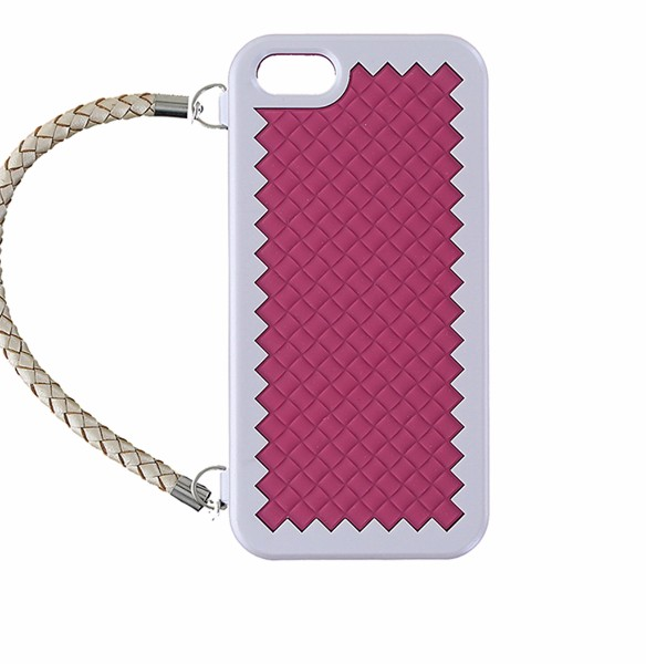 Joy New York Woven Handbag Dual Layer Case for iPhone 5/5S/SE - Silver/Dark Pink (Refurbished)