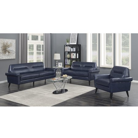 Phenomenal Camden Collection 3 Piece Modern Mid Century Faux Leather Upholstered Stationary Living Room Sofa Love Seat And Chair Set Dark Blue Squirreltailoven Fun Painted Chair Ideas Images Squirreltailovenorg