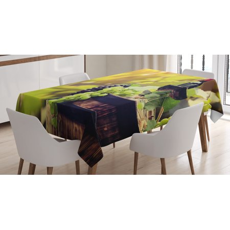 Wine Tablecloth, Agriculture Country Theme Natural Landscape Product Alcoholic Drink Fruit, Rectangular Table Cover for Dining Room Kitchen, 60 X 84 Inches, Light Green Black Brown, by - Halloween Themed Alcoholic Drink