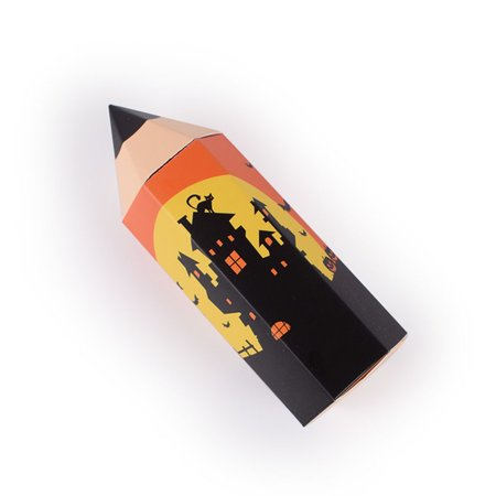 50PCS Pencil Shape Halloween Candy Box Sweet Cartoon Halloween Pattern Party Birthday Favour Gift Box Specification:orange