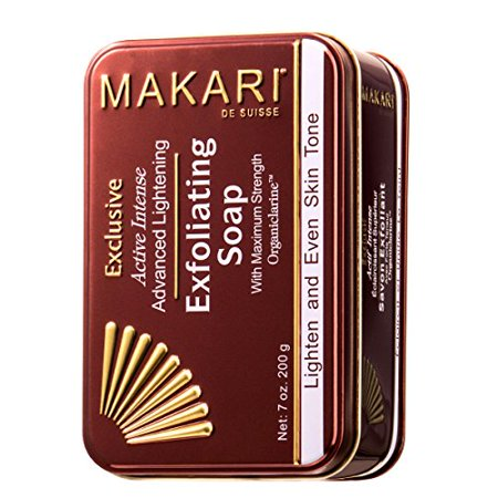 Makari Exclusive 7oz. Skin Lightening & Exfoliating Bar Soap with Organiclarine - Advanced Active Whitening Treatment for Dark Spots, Acne Scars, Sun Patches, Stretch Marks & (Best Products For Dark Spots And Hyperpigmentation)