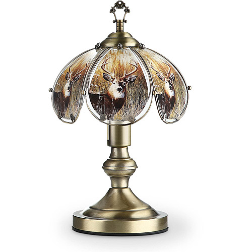 "OK Lighting 14.25"" Antique Bronze Touch Lamp With Deer Theme"