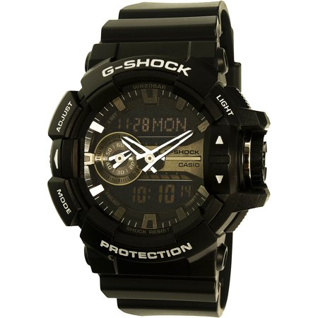 GA400GB-1A Men's G-Shock Black and Silver Tone Dial Black Resin Strap World Time Dive Watch Change Time Casio G-shock Watch