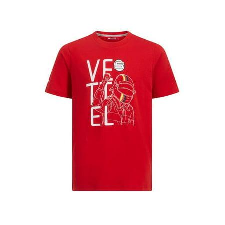 scuderia ferrari kids f1 sebastian vettel red t shirt 7 8. Black Bedroom Furniture Sets. Home Design Ideas