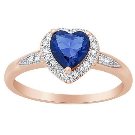 Heart Shape Simulated Blue Sapphire & Cubic Zirconia Halo Promise Ring in 14k Rose Gold Over Sterling Silver Size Ring - 4