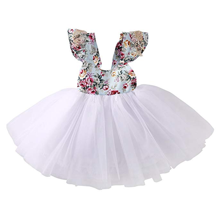 Newborn Infant Baby Girls Floral Dress Party Ball Gown Lace Tutu Formal Dresses Sundress