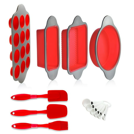 Silicone Baking Molds, Pans and Utensils (Set of 13) by Boxiki Kitchen | Silicone Cake Pan, Brownie Pan, Loaf Pan, Muffin Mold, 2 Spatulas, Brush and 6 Measuring Spoons](Spoon Molds)