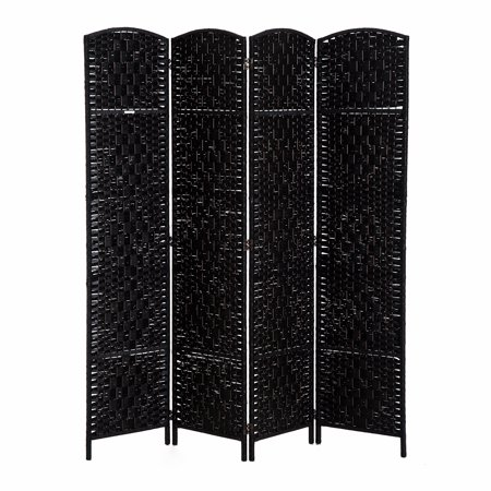 6' Tall Wicker Weave Four Panel Room Divider Privacy Screen - Black Wood ()