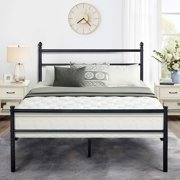 Vecelo Metal Full Size Platform Bed Frame for Bedroom,Simple Style with, Slats Headboard Retro