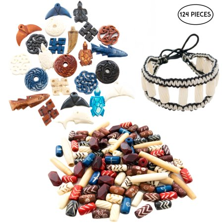 124 Pcs Bone Beads and Pendants for Jewelry Making with Free Leather Bracelet - Ox Bone Hand Carved Craft Bulk Mix Bead Kit - Great for Native American, African, Tribal, Indian, Celtic Creations