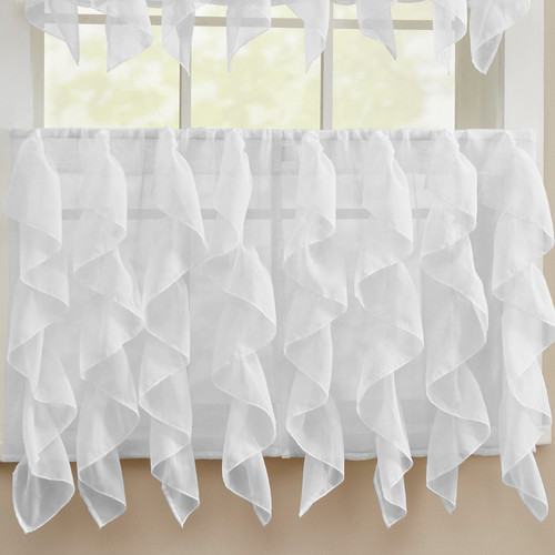 Sweet Home Collection Chic Sheer Voile Vertical Ruffle Window Kitchen Tier Curtain (Set of 2)
