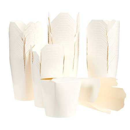 Chinese Food Box (Pack of 60 Chinese Takeout Food Containers - Take Out Boxes, To-Go Eating, Chinese Party Supplies 16oz, White - 3.3 x 3.6 x 2.7)
